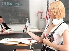 Cece has detention in Mr. Mountain's class...he tells Cece to be quiet while she does her detention classwork...