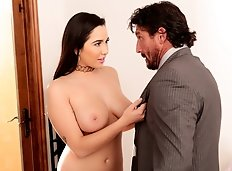 Tommy Gunn is in the kitchen drinking coffee when his daughter Angel brings her new big-titted friend Karlee...