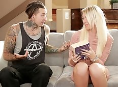 Blond TS beauty Aubrey Kate makes out with alt, non-binary tattooed stud Ruckus. They kiss passionately,...